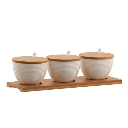BELLEEK LIVING RIPPLE 3 BOWLS SET