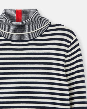 JOULES WOMENS ORIANNA KNITTED ROLL NECK JUMPER- FRENCH NAVY STRIPE