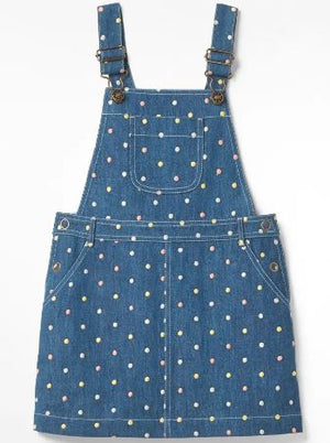 WHITE STUFF GIRLS ELLIE DENIM DUNGAREE DRESS- DENIM/SPOTTY