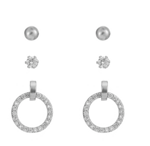 BELLE & BEAU HALO SPARKLE EARRING GIFT SET - SILVER