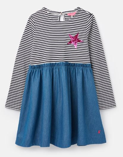 JOULES GIRLS HAMPTON PAPERBAG WAIST DRESS- BLUE STRIPE STAR