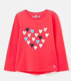 JOULES GIRLS AVA APPLIQUE T-SHIRT - RED HEARTS