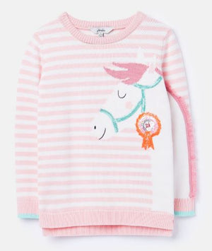 JOULES GIRLS GEEGEE INTARSIA KNIT JUMPER - Pink Horse