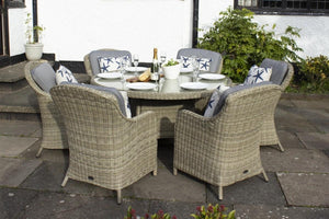 Royalcraft Wentworth 6 Seater Round Imperial Rattan Dining Set with Weather Shield Cushions