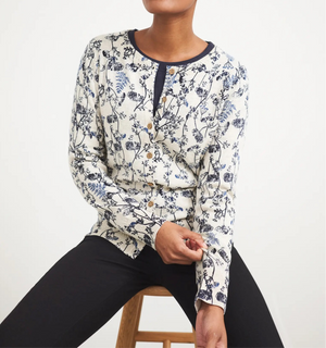 White Stuff Women's Lola Crew Neck Cardi- Navy Multi