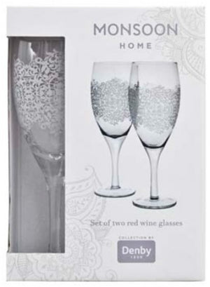 Monsoon Filigree Red Wine Glass (Pack Of 2) - Jacksons of Saintfield