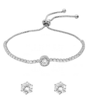 BELLE & BEAU IRIS TOGGLE CRYSTAL BRACELET GIFT SET - SILVER