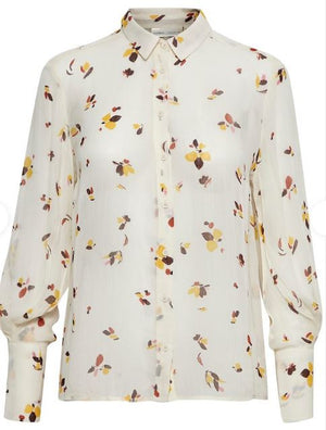 INWEAR WOMENS KATHY LONG SLEEVE BLOUSE- FRENCH NOUGAT/WINDY FLOWERS