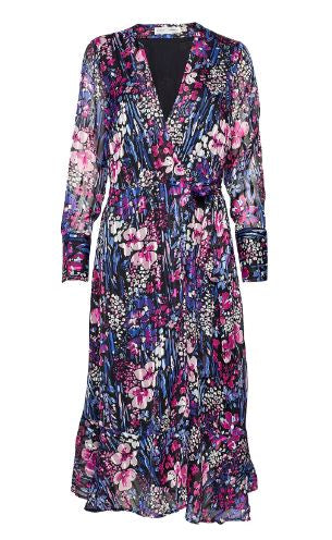 INWEAR WOMENS LONDON WRAP DRESS- BLACK FLOWER EXPLOSION