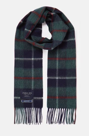 JOULES MENS TYTHERTON WOOL CHECKED SCARF - GREEN MULTI CHECK