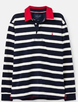 JOULES MENS ONSIDE RUGBY SHIRT- NAVY CREAM STRIPE
