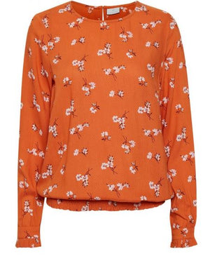 KAFFE KAVILMA WOMEN'S BLOUSE- BURNT ORANGE FLORAL
