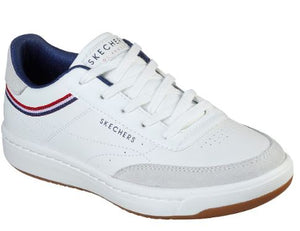 SKECHER WOMENS DOWNTOWN KLASSIC KOURT TRAINER - WHITE