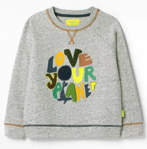 WHITE STUFF BOYS LOVE YOUR PLANET JERSEY SWEATSHIRT- STONE GREY