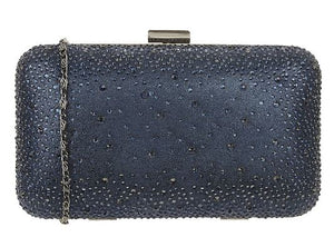 LOTUS LULE DIAMANTE CLUTCH BAG- NAVY MICROFIBRE AND DIAMANTE