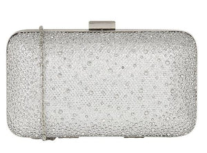 LOTUS LULE DIAMANTE CLUTCH BAG- SILVER MICROFIBRE AND DIAMANTE
