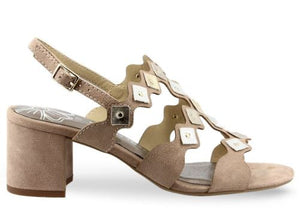 MARCO TOZZI LADIES HEELED ANKLE STRAP SANDALS - NUDE COMB