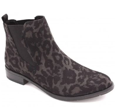MARCO TOZZI WOMEN'S CHELSEA ANKLE BOOT- GREY/LEOPARD PRINT