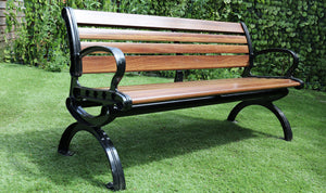 Garden Bench Fiberglass and Aluminium 3 Seater, No Maintenance, Rust Free