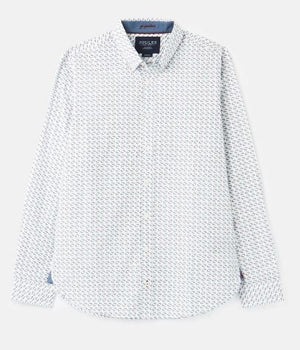 JOULES MENS INVITATION CLASSIC FIT PRINTED SHIRT - WHITE MALLARD
