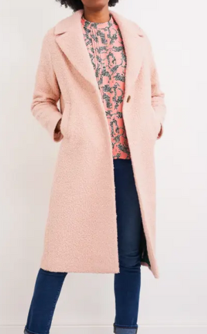 WHITE STUFF WOMENS BOUCLE MIDI COAT - LIGHT PINK