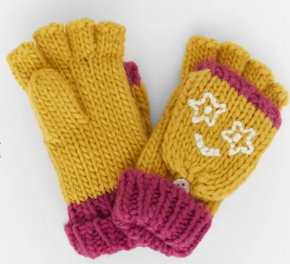 WHITE STUFF KIDS FUNNY FACE FLIP MITTS - MID CHART