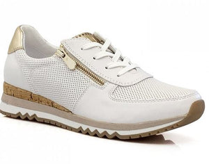 MARCO TOZZI WOMENS LOW-TOP LACE-UP TRAINER- WHITE COMB
