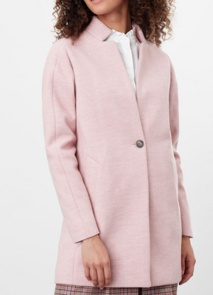 JOULES WOMENS ADDINGTON HERRINGBONE COAT - PINK HERRINGBONE