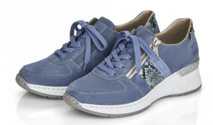 RIEKER N4321-11 LADIES BLUE LACE UP SHOES sneakers with wedge heel