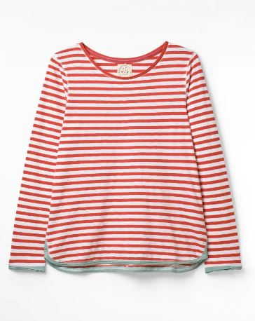 WHITE STUFF WOMENS CARLY FAIRTRADE JERSEY TEE- STRAWBERRY RED STRIPE