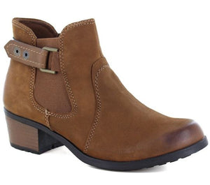 EARTH SPIRIT WOMENS EL RENO LEATHER ANKLE BOOTS - ALMOND