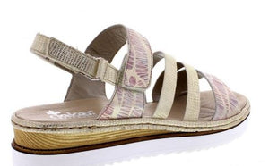 RIEKER LADIES 679L3-90 ANKLE STRAP SANDALS - MULTI COLOURED