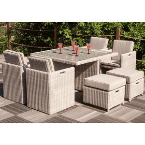 Seychelles Deluxe 8 Seater Cube Set 4 x Chair 4 x Stool and Table