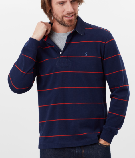 JOULES MENS ONSIDE RUGBY SHIRT - NAVY RED STRIPE