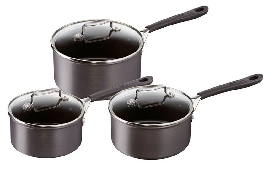 Tefal Jamie Oliver Hard Anodised 3 Piece Saucepan Set Induction Ready