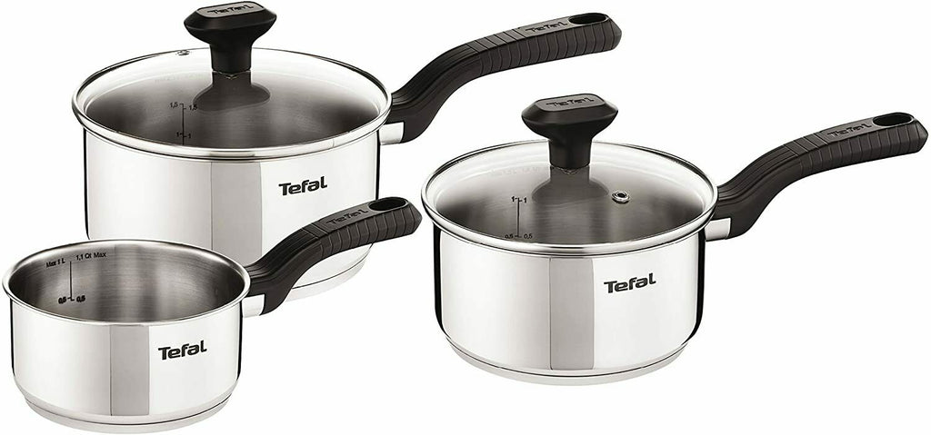 Tefal Comfort Max 3 Piece Saucepan Cookware Set Stainless Steel All Hobs