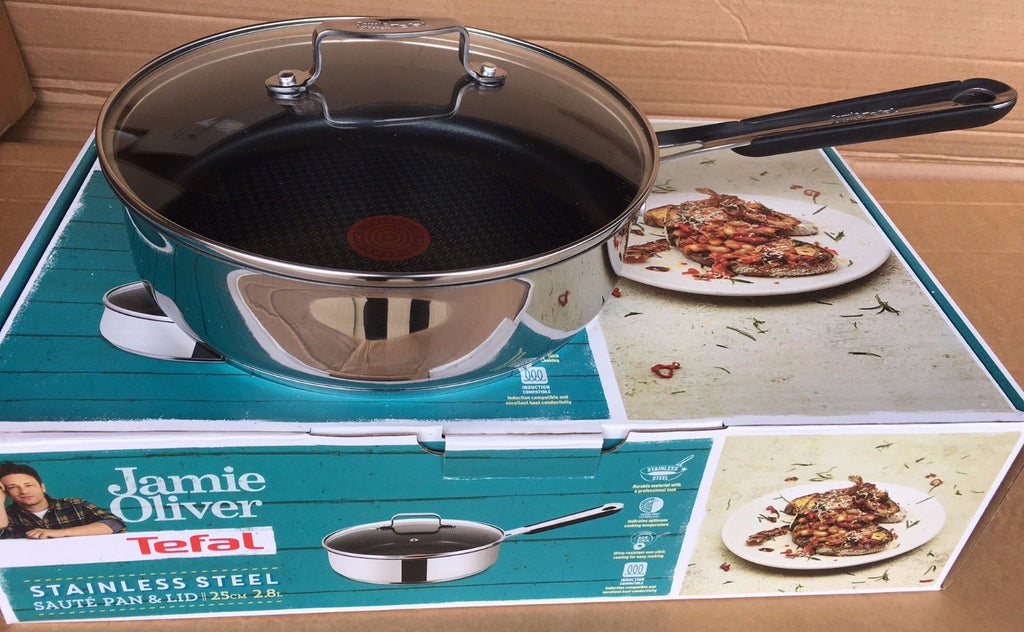 Jamie Oliver by Tefal Saute Pan and Lid 25cm 2.8L Boxed Induction Compatible