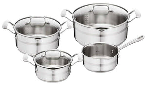 Tefal Jamie Oliver Stainless Steel 7 Piece Set Stewpots & Saucepan Brushed