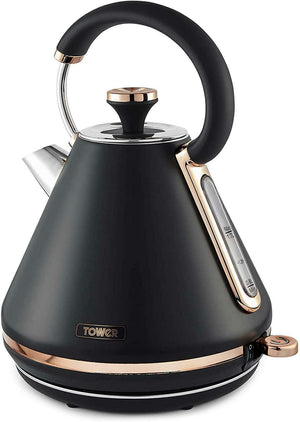 Tower Cavaletto 1.7L Black and Rose Gold Pyramid Kettle (T10044RG)
