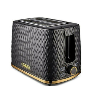 Tower Empire 2 Slice Toaster Black & Gold 900W