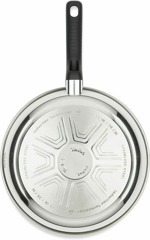 Tefal Non-stick Wok Comfort Max Stainless Steel 28cm Silver Suitable All Hobs