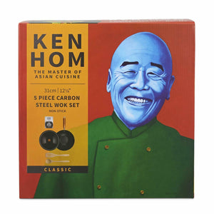 Ken Hom 5 Piece Non Stick Wok Set 31cm Carbon Steel Stir Fry Pan & Lid Large