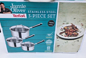 Tefal Jamie Oliver Stainless Steel 3 Piece Saucepan Set Draining Induction Ready - Jacksons of Saintfield