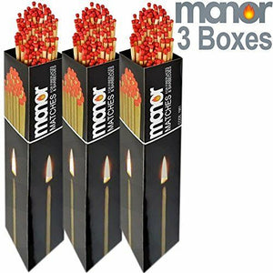 3 BOXES OF 90 Manor Long Fireside Matches Coal Fire Wood Burner BBQ Lighting