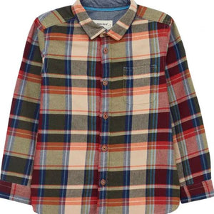 WHITE STUFF BOYS SERPENTINE FLANNEL CHECK SHIRT - NAT MLT