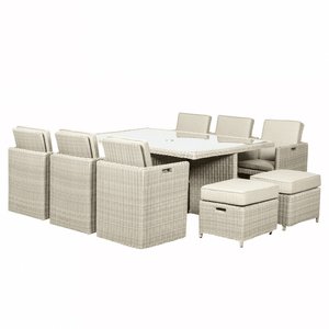 Royalcraft Landford Cream 10 Seater Square Cube Table Dining Set with cover
