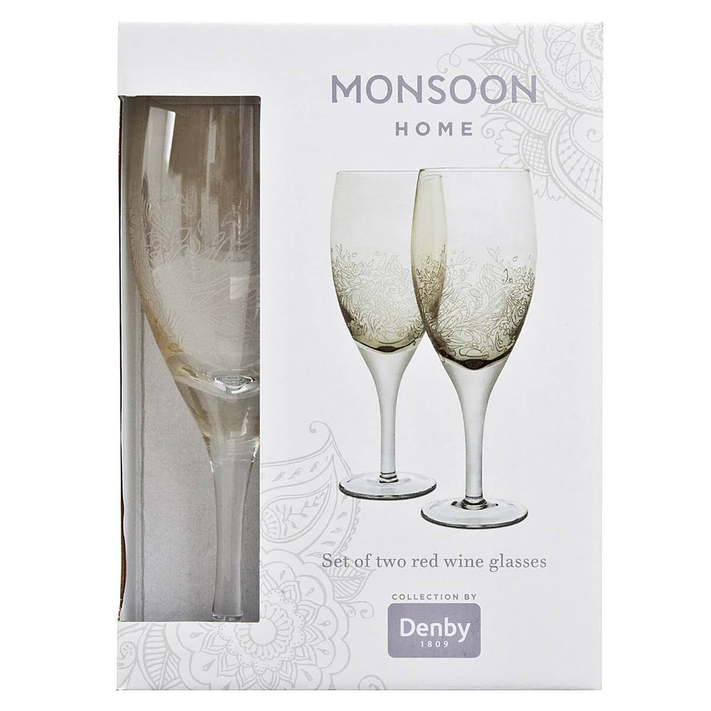 Denby Monsoon Lucille Gold Pair of Red Wine Glasses - Jacksons of Saintfield