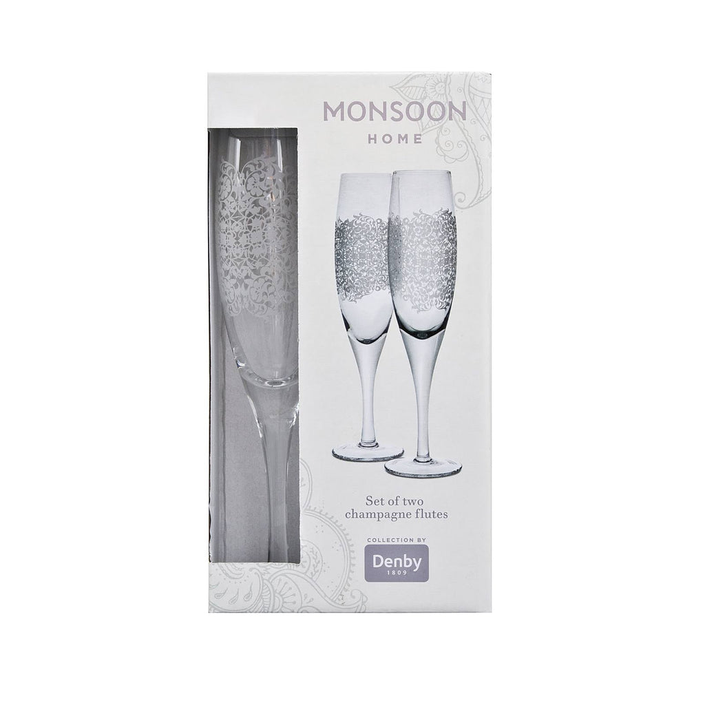 Denby Monsoon Filigree Champagne Flutes Pack Of 2 - Jacksons of Saintfield