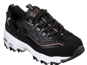 SKECHERS WOMENS D'LITES GLAMOUR FEELS TRAINERS - BLACK/ROSE GOLD