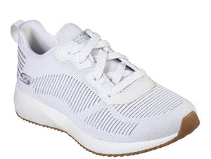 SKECHERS WOMENS BOBS SPORT SQUAD GLAM LEAGUE TRAINER- WHITE